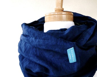 Linen infinity scarf  wrap navy blue or more colors