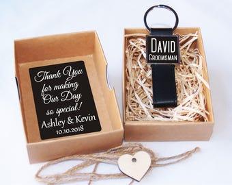 Groomsman gift, Groomsman leather keychain, Thank you groomsman gift, Groomsmen gift, Gift for Groomsman, Wedding party gift, Best man gift