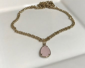 Gold Handmade Necklace with Light Pink Gem Charm