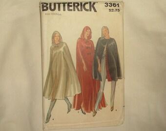Uncut vintage Butterick CAPE Pattern 3361 • size Small • Factory Folded
