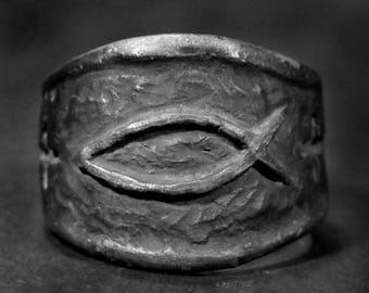 Ichthus ring,Fish ring, Christian ring, silver ichthus ring,silver christian ring