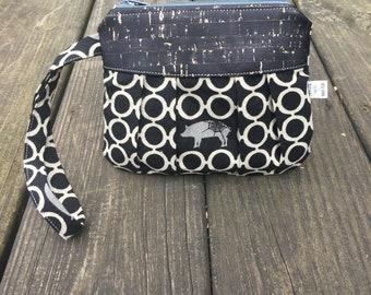 Pleated wristlet / zipper pouch / small bag / echino fabric