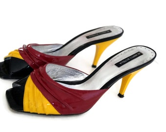 ROBERTO BOTELLA  Vintage Genuine Leather Slides Open Heel Women's Slip on Shoes Size 38 Summer Shoes Red Yellow black Spanish design shoes
