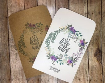 25 Purple Let Love Grow Wild Seed Packets Wedding Favors Personalized Envelopes - Rustic, Kraft, DIY, Handmade, Bridal Shower, Baby, Seeds