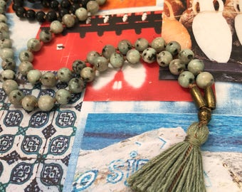 Obsidian & Kiwi Jasper <<RELEASE>> Gemstone Mala Beads Necklace // Silk // Tassel // Brass || 108 // Yoga // Meditation // Japa // Mantra