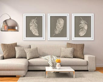 Feathers (Series B3) Set of 3 - Art Prints (Featured in Cream on Gravel Silk) Nature Woodland Inspired
