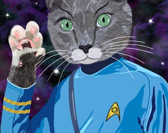 Live Long and Prospurr - Mr. Spock Cat - 8x10 print