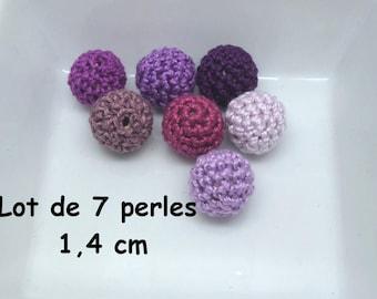 7 beads (1.4 cm) in violet crochet Mercerized cotton
