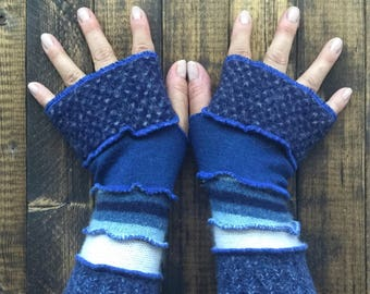 Blue Fingerless Gloves Made from Recycled Sweaters