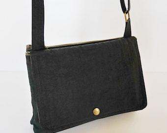 Sale - Black Water Resistant Nylon Messenger Bag - Shoulder bag, Cross body, Hip bag, Travel bag, Women - WENDY