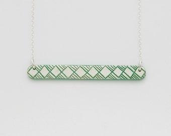 Necklace Little Engraved Green Jade
