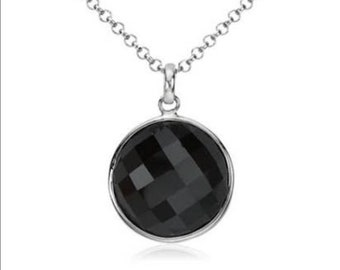 Black onyx pendent with sterling silver