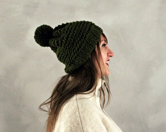 Womens Mens Unisex Hand Knitted Pompom Beanie- Dark Green Pom Pom Hat- Knitted Wool Beanie- Knit Winter Hat- Forest Green Slouchy Beanie