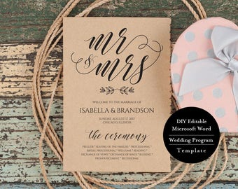 Printable Wedding Program Template, Instant Download, Editable Ceremony Program 5x7, MSW198