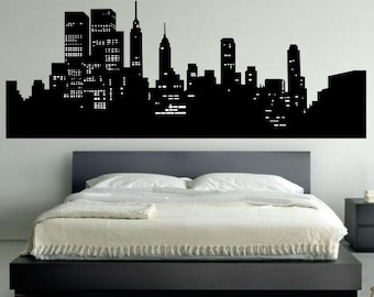 New York Skyline Wall Decal   Bedroom Wall Decal Decor   New York Wall Art