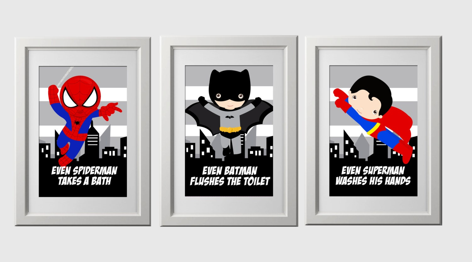 superhero bathroom wall prints instant download set of 3