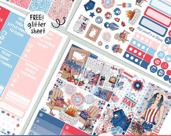 Independence Day - KIT - printable 4th July USA silhouette cut file ,  printable planner stickers Erin Condren Life Planner
