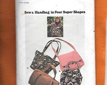 Vintage 1970's Butterick Handbags With 4 Shapes To Choose From