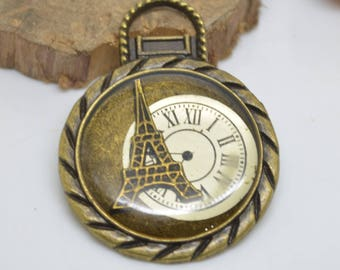 set of 2 charms clock bronze 3.5 x 4.5 cm