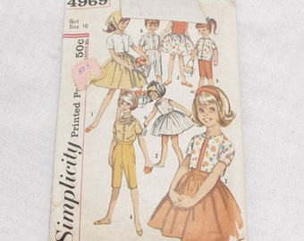Early 60s Vintage Girl's One-Piece Dress, Pants, Blouse, Top and Scarf Pattern Simplicity 4969 28 Bust