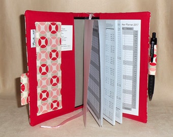 """2016 A5 Diary Planner book with fabric cover - Stay organised with a week to a view in """"Vintage Modern"""" by Joella Hill Australian Seller"""