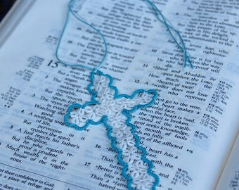 Tatted Cross Bookmark handmade light blue and white