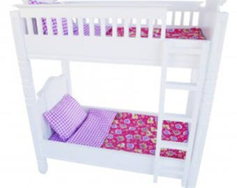 """Doll Bunk Bed with Pink  Linens Fits American Girl 18"""" Dolls"""