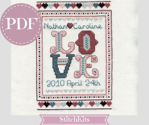 Wedding Anniversary Gifts By Year Chart: Love Wedding Sampler. PDF Cross Stitch Chart Anniversary