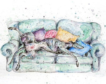 Greyhound Art, PRINT of Original watercolour and pen painting, greyhound gifts, sighthound art, gifts for dog lovers, black greyhound, dog