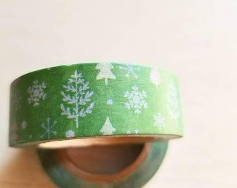 Green Christmas Tree Washi Tape. Pretty tape. 1.5cm x 10m.