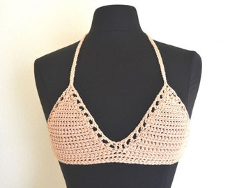 Crochet Bikini Top 50% Off Triangle Festival Bra Top Pale Pink Cotton Swimwear Top Size Extra Small XS / Small S - A/B Cup
