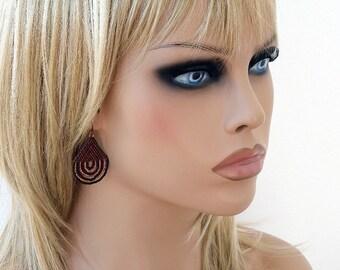 Peyote Earrings, Womens Beaded Earring, Brown Terracotta Copper Peyote Earrings, Seed Bead Earrings, Beaded Jewelry Elegant Earrings