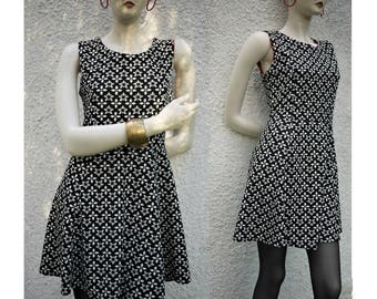 90s Vintage dress/black white/stretch fabric/mini dress/Made in Italy/size S/Small size