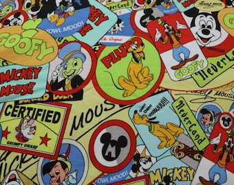 Disney Character Badges Knit Fabric