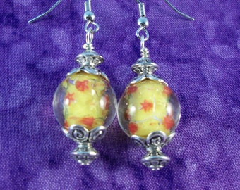Bright and Cheery Lampworked Yellow Earrings