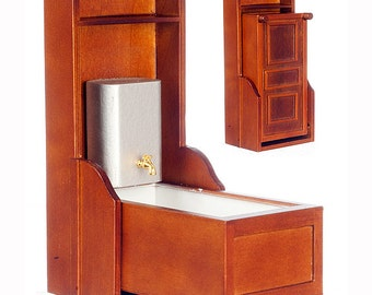 1:12 Scale Miniature Victorian Murphy Bathtub (Walnut/Mahogany)