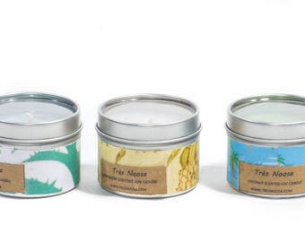 A set of three tropical small coloured scented soy tin containers
