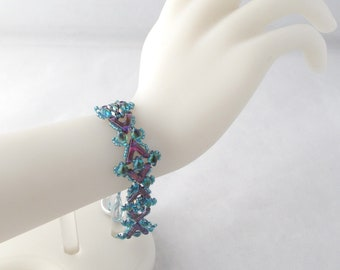 Teal & Fuchsia Phoenix Bracelet with Button and loop clasp