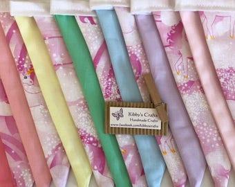 Fabric bunting flags pastel rainbow unicorn