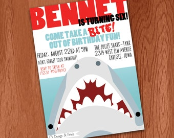 Shark Birthday Party Invitation - Printable Invitation - JAWS Birthday Invitation Shark Attack Invitation