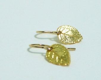 Tiny Gold Leaf Earrings, Dainty Earrings, Delicate, Gold Filled Earrings for Women, Minimalist Earrings, Simple Earrings, Nature Earrings
