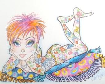 Tattoo Girl on Pillows Low Brow Big Eye Fantasy Print 8.5 x 11
