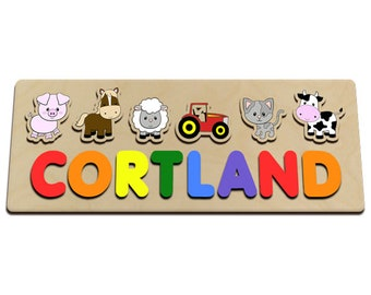 Farm Animals With Red Tractor Personalized Wooden Name Puzzle for Long Names Cow, Cat, Lamb, Horse, Pig 590267084