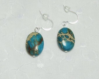 Earrings Turquoise Swirled Tan Brown on Teal Ovals Beaded