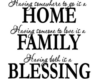 Vinyl Wall Decal - Home...Family...Blessing - Many Color Choices