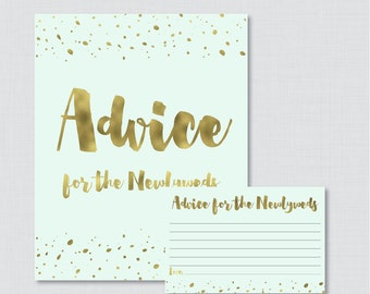 Advice for the Newlyweds Bridal Shower Activity - Printable Mint and Gold Bridal Shower Advice Cards and Sign - Faux Gold Foil Bridal 0010-M
