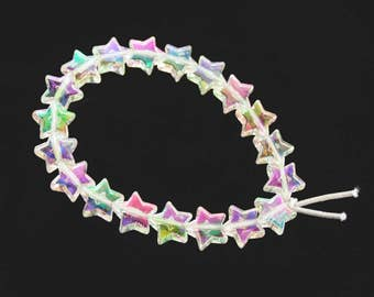 Holographic Clear Shooting Star Bracelet // 90s Vintage Inspired Iridescent Beaded Transparent Stars Bracelet // Kawaii Pastel Goth Jewelry