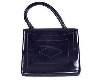7 DOLLAR SALE---Vintage 60's Navy Blue Vinyl Handbag Geometric Design