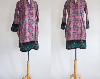 Vintage Tunic / Vintage Top / Cotton Print Tunic / Boho Stye Tunic / Paisley Tunic / Made in India / Printed Tunic / Size Small