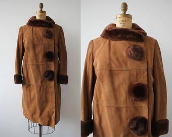 vintage 60s coat / 60s brown suede and sheered beaver coat / 1960s does 1920s coat / Miss Cosmopolitan / 1960s Best & CO coat / large